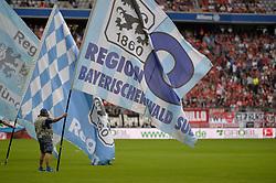 01.08.2015, Allianz Arena, Muenchen, GER, 2. FBL, TSV 1860 Muenchen vs SC Freiburg, 2. Runde, im Bild Fahnen des TSV 1860 Muenchen, // during the 2nd German Bundesliga 2nd round match between TSV 1860 Muenchen and SC Freiburg at the Allianz Arena in Muenchen, Germany on 2015/08/01. EXPA Pictures © 2015, PhotoCredit: EXPA/ Eibner-Pressefoto/ Buthmann<br /> <br /> *****ATTENTION - OUT of GER*****