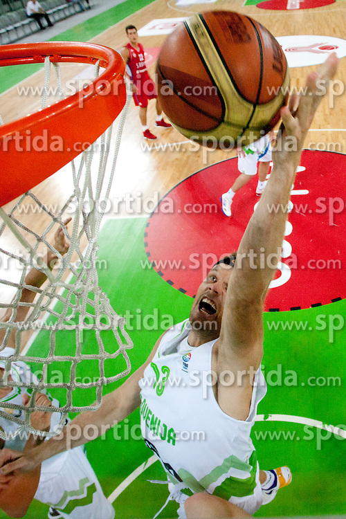 Miha Zupan of Slovenia during friendly basketball match between National teams of Slovenia and Serbia of Adecco Ex-Yu Cup 2012 as part of exhibition games 2012, on August 5, 2012, in Arena Stozice, Ljubljana, Slovenia. (Photo by Urban Urbanc / Sportida)