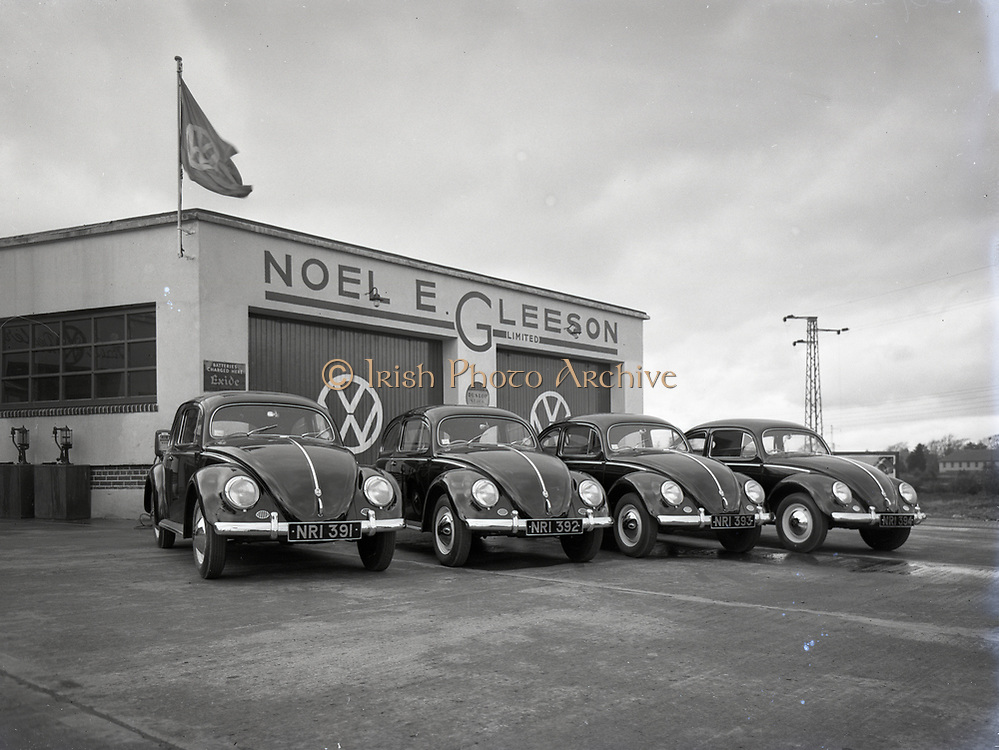 Volkswagon Cars at Noel E Gleeson Rathfarnham 24-3-1955, 4 lovely beetles lined up with sequence registrations