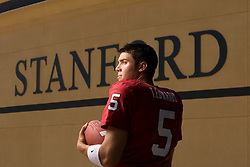 Trent Edwards, Stanford quarterback in front of the new Stanford Stadium. He now plays for the Buffalo Bills.