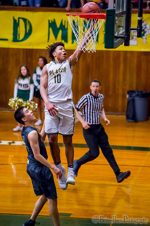 Placer Hillman Kai Huntsberry (10), shoots the ball as the Placer Hillman host the Liberty Ranch Hawks Varsity basketball team in the DIV NorCal boys quarterfinal, Saturday Mar 10, 2018.  <br /> photo by Brian Baer
