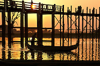 Architecture, U Bein bridge during a golden sunset, Amarapura, Myanmar. Exotic places fine art photography prints for sale.
