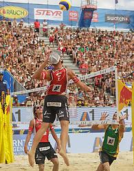 31.07.2016, Strandbad, Klagenfurt, AUT, FIVB World Tour, Beachvolleyball Major Series, Klagenfurt, Herren, im Bild Aleksandrs Samoilovs (1, LAT), Janis Smedins (2, LAT), Saymon Barbosa Santos (2, BRA) // during the FIVB World Tour Major Series Tournament at the Strandbad in Klagenfurt, Austria on 2016/07/31. EXPA Pictures © 2016, PhotoCredit: EXPA/ Gert Steinthaler