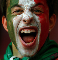 KAISERSLAUTERN, GERMANY - JUNE 17: An Italian fan during the FIFA World Cup Germany 2006 Group E match between Italy and USA at the Fritz-Walter Stadium on June 17, 2006 in Kaiserslautern, Germany.(Photo by Manuel Queimadelos)