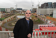 Roger Burrows is a Professor of Cities at Newcastle University. He is also a Visiting Professor at Goldsmith college, London. He is photographed in the urban development behind King's Cross/St Pancras stations.