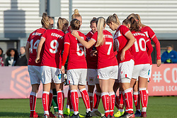 Team huddle prior to kick-off - Mandatory by-line: Paul Knight/JMP - 28/10/2018 - FOOTBALL - Stoke Gifford Stadium - Bristol, England - Bristol City Women v Arsenal Women - FA Women's Super League