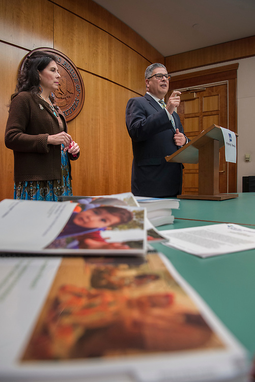 em020818h/a/Sen. Linda Lopez, D-Albuquerque, and Allen Sanchez, with CHI St. Joseph's Children, held a news conference about a bill in the Senate to use more money from the Land Grant permanent fund for early childhood education. This was at the State Capitol in Santa Fe, Thursday February 8, 2018. The bill has already made it through the House. (Eddie Moore/Albuquerque Journal)