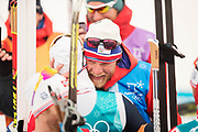 PYEONGCHANG-GUN, SOUTH KOREA - FEBRUARY 11: Tor Arne Hetland, coach of Norway, gives a hug to Simen Hegstad Krueger of Norway after the Mens Skiathlon 15km+15km Cross-Country Skiing on day two of the PyeongChang 2018 Winter Olympic Games  at Alpensia Cross-Country Centre on February 11 in Pyeongchang-gun, South Korea. Photo by Nils Petter Nilsson/Ombrello               ***BETALBILD***