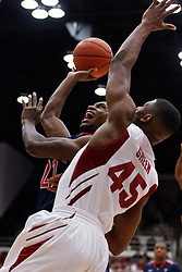 February 3, 2011; Stanford, CA, USA;  Arizona Wildcats guard Kyle Fogg (back) shoots past Stanford Cardinal guard Jeremy Green (45) during the first half at Maples Pavilion.