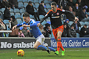 Peterborough United striker Tom Nichols (21) gets fouled by Sheffield United defender Danny Lafferty (24) during the EFL Sky Bet League 1 match between Peterborough United and Sheffield Utd at London Road, Peterborough, England on 11 February 2017. Photo by Nigel Cole.