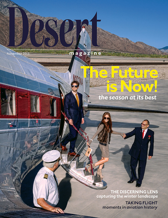 "Desert Magazine Cover story highlighting the ""Coming Home Issue. Shot at Palm Springs Air Museum. DC3 airplane and crew with 2 passengers"