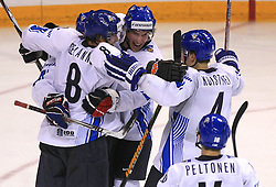 Finland (Selanne (8), Koistinen (4)) celebrates at ice-hockey match Finland vs USA at Qualifying round Group F of IIHF WC 2008 in Halifax, on May 11, 2008 in Metro Center, Halifax, Nova Scotia, Canada. (Photo by Vid Ponikvar / Sportal Images)