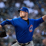 PITTSBURGH, PA - APRIL 26:  Chicago Cubs starting pitcher Jon Lester (34) throws a pitch in the first inning during an MLB game between the Pittsburgh Pirates and the Chicago Cubs on April 26, 2017 at PNC Park in Pittsburgh, PA.  (Photo by Shelley Lipton/Icon Sportswire)