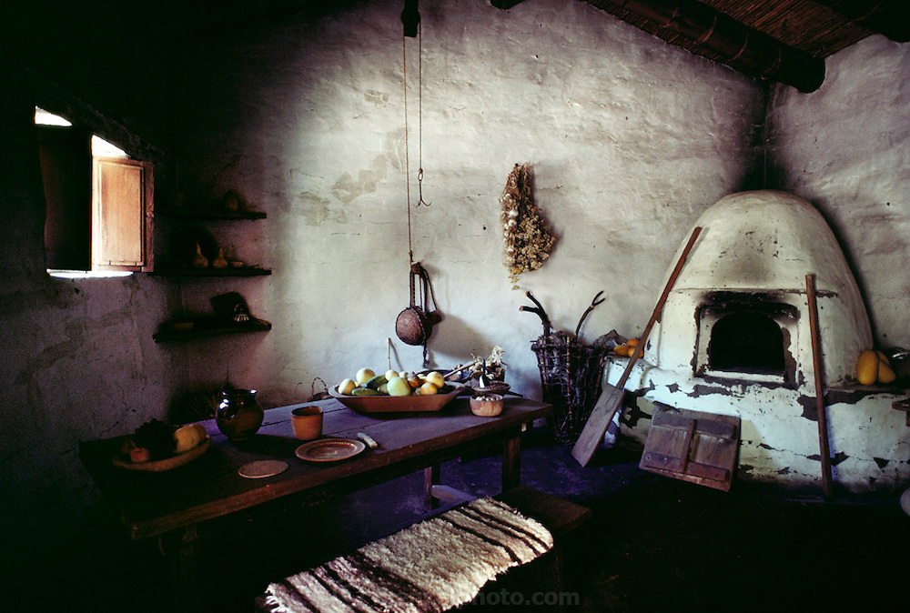 Kitchen with adobe oven inside La Purisima Concepcion Mission, Lompoc, California, USA.
