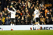 Fulham forward Sheyi Ojo (19) celebrates his goal (score 2-1) during the EFL Sky Bet Championship match between Fulham and Barnsley at Craven Cottage, London, England on 23 December 2017. Photo by Andy Walter.