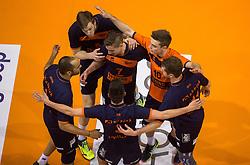 17-04-2016 NED: Play off finale Abiant Lycurgus - Seesing Personeel Orion, Groningen<br /> Abiant Lycurgus is door het oog van de naald gekropen tijdens het eerste finaleduel om het landskampioenschap. De Groningers keken in een volgepakt MartiniPlaza tegen een 0-2 achterstand aan tegen Seesing Personeel Orion, maar mede dankzij invaller Gino Naarden kwam Lycurgus langszij en pakte het de wedstrijd met 3-2 / Rob Jorna #10 of Orion, Pim Kamps #7 of Orion, Joris Marcelis #5 of Orion Vreugde yell