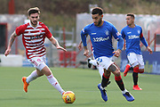 Rangers defender Connor Goldson (6) is under pressure from Hamilton Accademical forward George Oakley (9) during the Ladbrokes Scottish Premiership match between Hamilton Academical FC and Rangers at New Douglas Park, Hamilton, Scotland on 24 February 2019.
