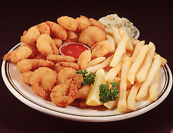 blue plate special fried fish shrimp chips french fry fries cole slaw tartar sauce ketchup catsup lemon wedge garnish