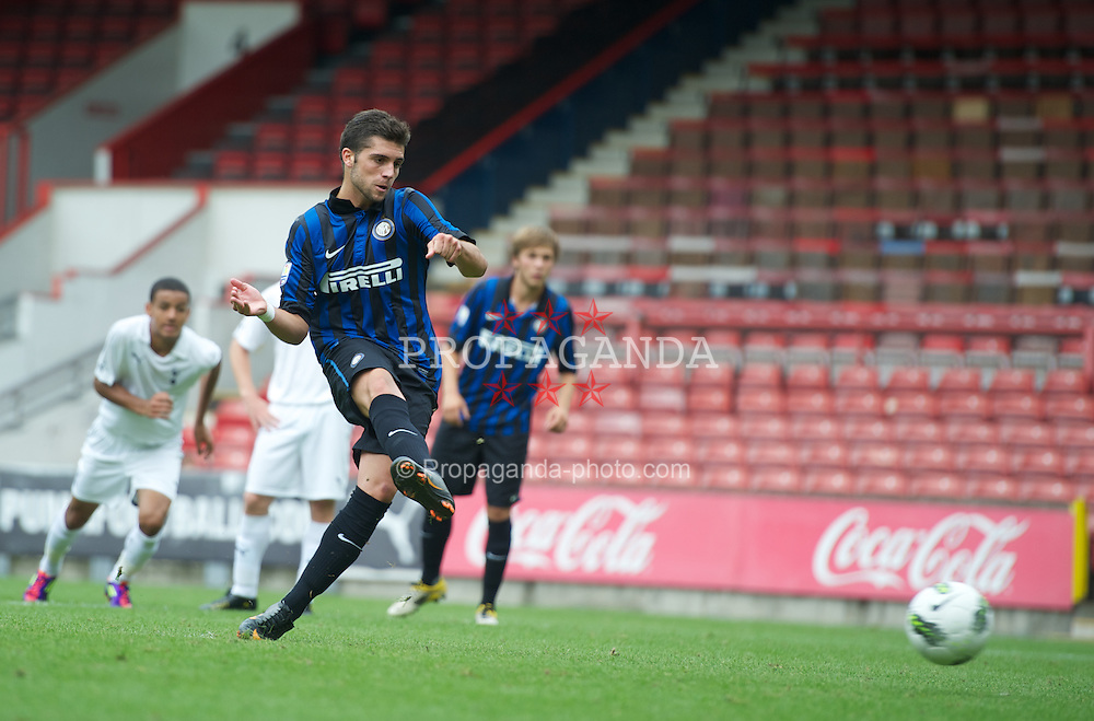 LONDON, ENGLAND - Wednesday, August 31, 2011: Inter Milan's Daniel Bessa scores a penalty against Tottenham Hotspur during the NextGen Series Group 4 match at Brisbane Road. (Pic by Chris Brunskill/Propaganda)