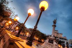 Plaza de Colon at dusk in Old San Juan, Puerto Rico, March 2011.