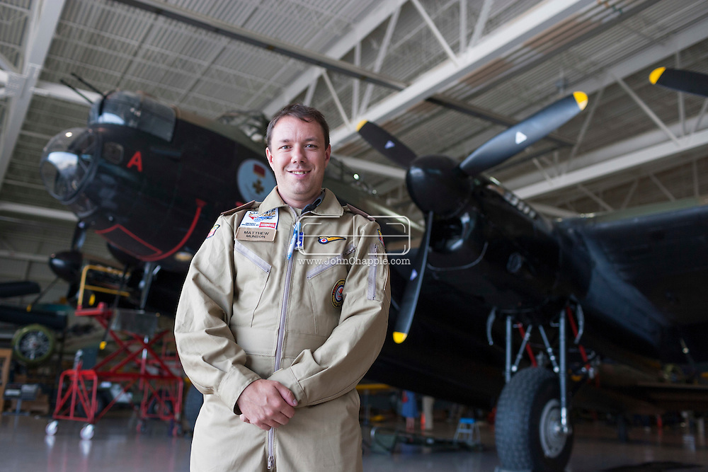 August 1, 2014. Hamilton, Ontario, Canada. The Canadian Warplane Heritage Museum will be flying their prized Avro Lancaster to England to join the only other airworthy Lancaster in the world, owned and operated by the Royal Air Force's renowned Battle of Britain Memorial Flight. Pictured is British businessman Matthew Munson who bid on eBay for a seat on the Lancaster during it's epic journey to the UK.<br /> Photo Copyright John Chapple / www.JohnChapple.com