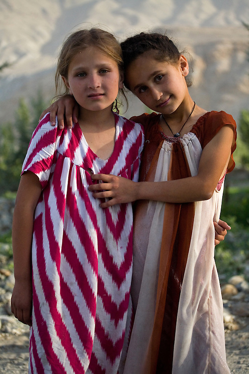 Two young girls in small village, Wakhan Valley
