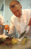 French Chef Pierre Gagnaire in his Paris kitchen - Gagnaire is one of the top chefs in France, a three star Michelin Chef for a number of years, with restaurants in London, Dubai, Hong Kong and Tokyo