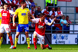 Richard Wood of Rotherham United appeals for a foul against Lukas Jutkiewicz of Birmingham City - Mandatory by-line: Ryan Crockett/JMP - 22/04/2019 - FOOTBALL - Aesseal New York Stadium - Rotherham, England - Rotherham United v Birmingham City - Sky Bet Championship