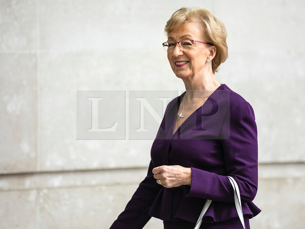 © Licensed to London News Pictures. 02/06/2019. London, UK. Former Leader of the House of Commons and Conservative Party leadership contender Andrea Leadsom arrives at BBC Broadcasting House to appear on The Andrew Marr Show Photo credit: Rob Pinney/LNP