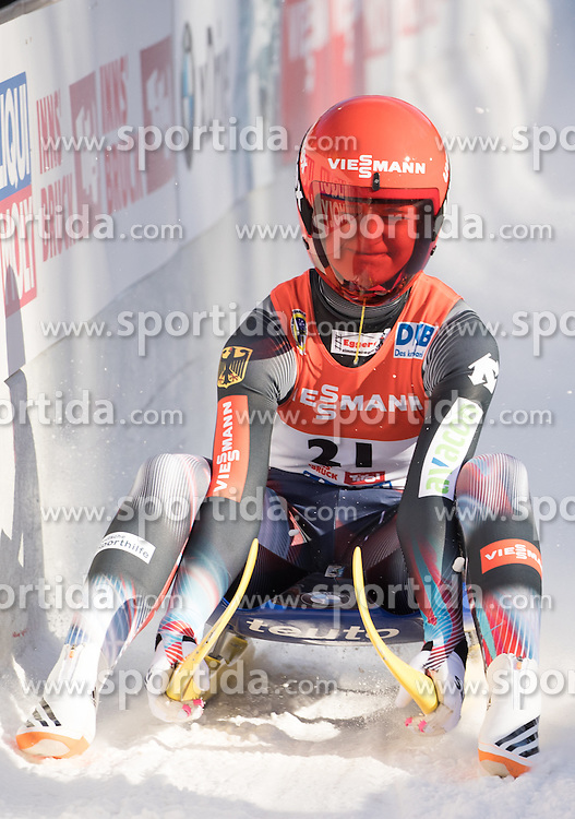 28.01.2017, Olympia Eisbahn, Igls, AUT, FIL Rennrodel WM 2017, Igls, Damen Einsitzer, 2. Lauf, im Bild Julia Taubitz (GER) // Julia Taubitz of Germany reacts after her 2nd run of women's single seater competition of 2017 Luge World Championship at the Olympia Eisbahn in Igls, Austria on 2017/01/28. EXPA Pictures © 2017, PhotoCredit: EXPA/ Johann Groder