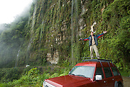 John Derksen in Bolivia while fixing for the NGTV crew working on the world's Most Dangerous Roads shoot.
