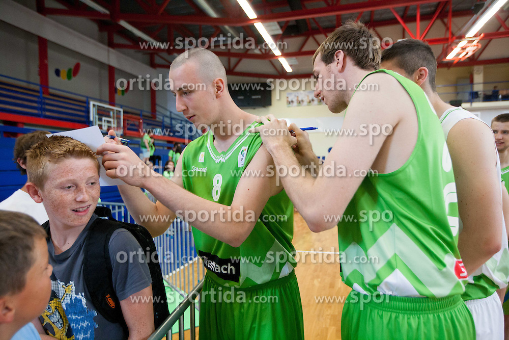 Jure Besedic and Urban Gorjanc during Open day of Slovenian U20 National basketball team before the European Chmpionship in Slovenia, on July 9, 2012 in Domzale, Slovenia.  (Photo by Vid Ponikvar / Sportida.com)