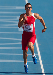 Mihail Dudas of Serbia competes in heat 1 during the men's decathlon 100m at the 2010 European Athletics Championships at the Olympic Stadium in Barcelona on July 28, 2010. (Photo by Vid Ponikvar / Sportida)