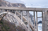 Bixby Bridge, with the rocky coast and blue ocean of Big Sur, California