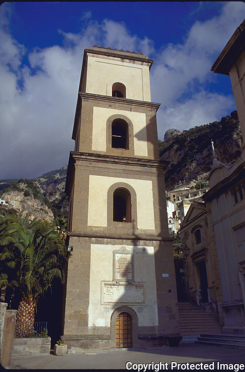 View of the tower in the central Piazza of Positano a charming Baroque style village on the Amalfi Coast of Italy in the Region of Campania.