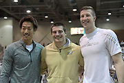 Jan 18, 2019; Reno, NV, USA; Men's winner Matt Ludwig of Akron (center) poses with runner-up Seito Yanamoto (JPN), left, and third-place finisher Andrew Irwin during the UCS Spirit National Pole Vault Summit at the Reno-Sparks  Livestock Events Center.