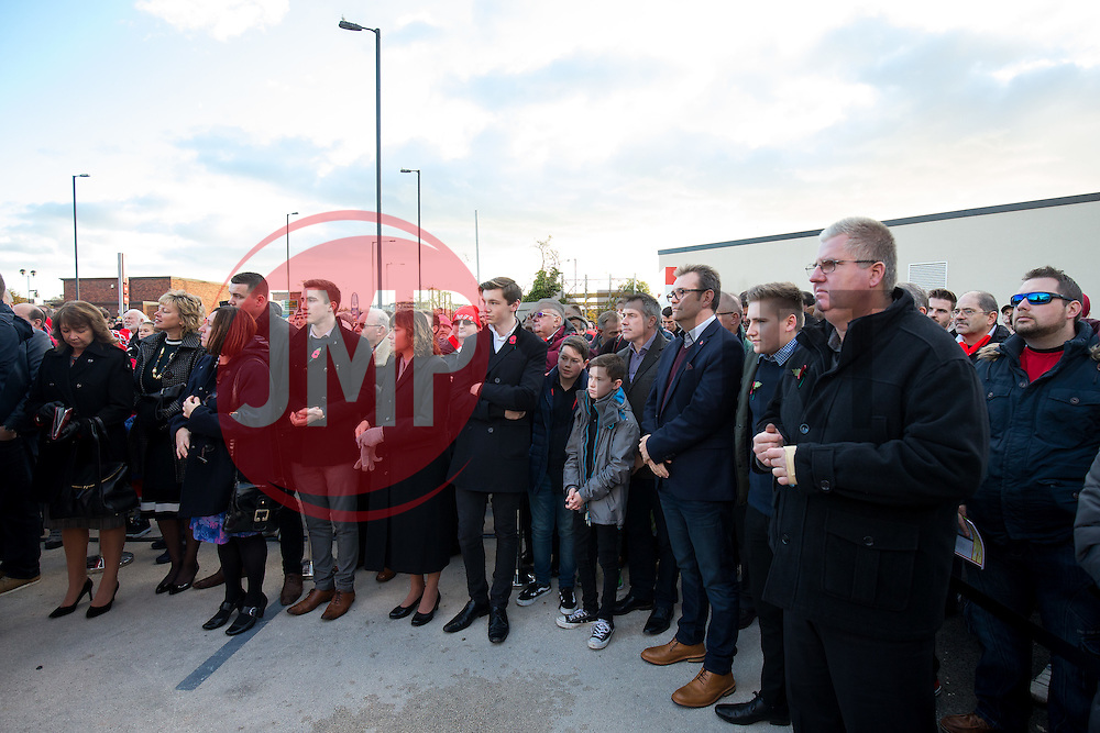 Family Members look on as a Statue of Bristol City legend John Atyeo is unveiled at the redeveloped Ashton Gate - Rogan Thomson/JMP - 05/11/2016 - FOOTBALL - Ashton Gate Stadium - Bristol, England - Bristol City v Brighton & Hove Albion - Sky Bet Championship.