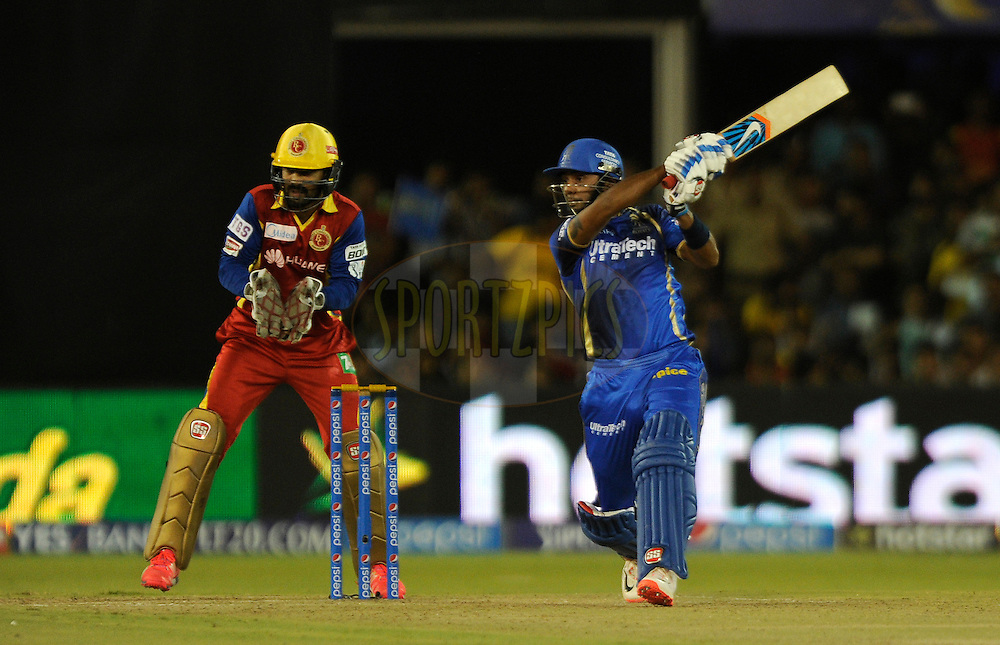 Stuart Binny of Rajasthan Royals bats during match 22 of the Pepsi IPL 2015 (Indian Premier League) between The Rajasthan Royals and The Royal Challengers Bangalore held at the Sardar Patel Stadium in Ahmedabad , India on the 24th April 2015.<br /> <br /> Photo by:  Pal Pillai / SPORTZPICS / IPL