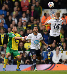Tottenham's Lewis Holtby heads the ball  - Photo mandatory by-line: Mitchell Gunn/JMP - Tel: Mobile: 07966 386802 14/09/2013 - SPORT - FOOTBALL -  White Hart Lane - London - Tottenham Hotspur v Norwich - Barclays Premier League