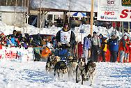 3/4/2007:  Willow, Alaska -  Veteran Bill Pinkham of Glenwood Springs, CO starts the 35th Iditarod Sled Dog Race