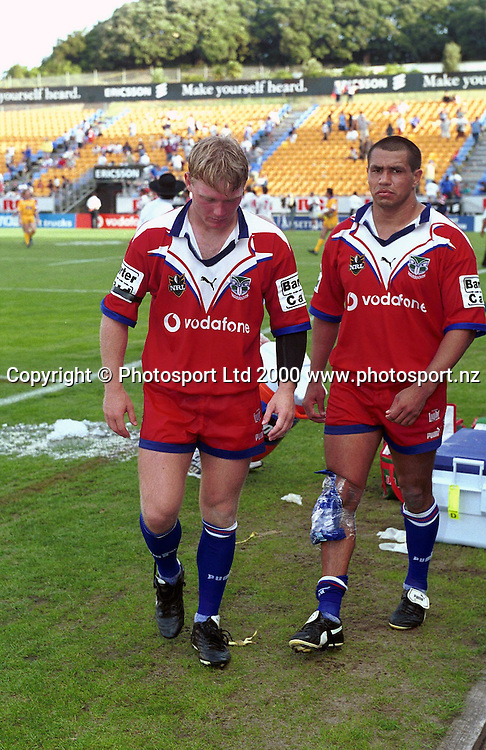 Robert Mears and John Simon - Auckland Warriors v Dragons, NRL 2000. Photo: Sandra Teddy/Photosport.co.nz