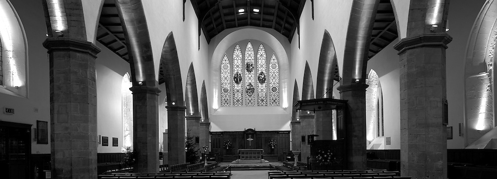 Black and White Interior shot of the famous Greyfriars Kirk from the tale of Greyfriars Bobby