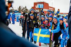 March 16, 2019 - –Stersund, Sweden - 190316 Team Sweden celebrate after the Women's 4x6 km Relay during the IBU World Championships Biathlon on March 16, 2019 in Östersund..Photo: Petter Arvidson / BILDBYRÃ…N / kod PA / 92268 (Credit Image: © Petter Arvidson/Bildbyran via ZUMA Press)