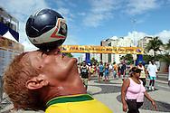 Football - FIFA Beach Soccer World Cup 2006 - Group A - BRA X JPN - Rio de Janeiro - Brazil 05/11/2006<br />Brazilian Beach soccer fan Lion , controls the ball at the entrance of the Beach Soccer stadium  Event Title Board Mandatory Credit: FIFA / Ricardo Moraes