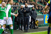 Hibernian FC manager, Jack Ross shouts at his players during the Ladbrokes Scottish Premiership match between Hibernian FC and Hamilton Academical FC at Easter Road Stadium, Edinburgh, Scotland on 22 January 2020.