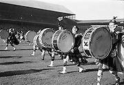 15/10/1967<br /> 10/15/1967<br /> 15 October 1967<br /> Oireachtas Final: Kilkenny v Clare at Croke Park, Dublin.<br /> Some of the big drums of the St. Lawrence Pipe Band which paraded during the interval of the Oireachtas Hurling Final.