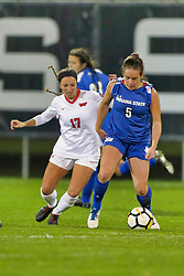 NORMAL, IL - October 17:  Emily Adelman & Katie Wells during an NCAA Missouri Valley Conference (MVC)  women's soccer match between the Indiana State Sycamores and the Illinois State Redbirds October 17 2018 on Adelaide Street Field in Normal IL (Photo by Alan Look)