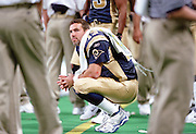 Quarterback Kurt Warner (13) of the St. Louis Rams watches from the sidelines during a 48 to 14 win by the Rams over the Carolina Panthers on 11/11/2001..©Wesley Hitt/NFL Photos