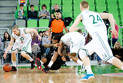 David Moss of Montepaschi Siena between Ben Woodside of Union Olimpija and Danny Green of Union Olimpija during basketball match between KK Union Olimpija and Montepaschi Siena (ITA) of 7th Round in Group D of Regular season of Euroleague 2011/2012 on December 1, 2011, in Arena Stozice, Ljubljana, Slovenia. Sena defeated Union Olimpija 63-57. (Photo by Vid Ponikvar / Sportida)