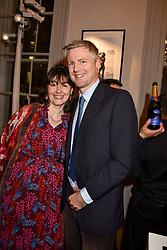 Georgia Coleridge and Zac Goldsmith at Mark Shand's Adventures and His Cabinet Of Curiosities VIP private view, 32 Portland Place, London, England. 20 February 2018.
